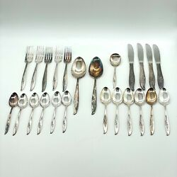 Nobility Magic Moment Vintage Silverware Fork Spoon Butter Knife Rose 24 Piece