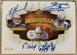 2008 Sp Authentic Emmitt Smith Troy Aikman Daryl Johnston Immortals Auto And039d /10