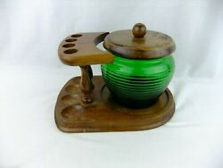 Vintage Pipe Stand With Humidor Beehive Shape Green Glass Made In Usa