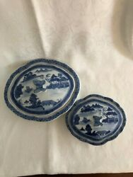Blue White Canton Covered Serving Dish And Lid Pair Chinese Export Porcelain