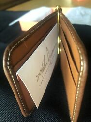 Martin Dingman Brown Saddle Leather Bifold Wallet With Money Clip Card Id Holder