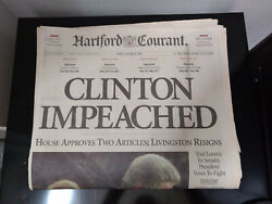 Clinton Impeached December 20, 1998 Hartford Courant Newspaper