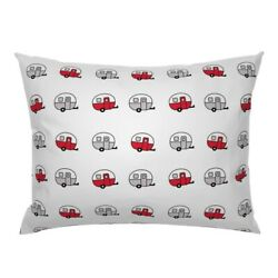 Vintage Camper Trailer Canned Ham Red Pillow Sham By Roostery