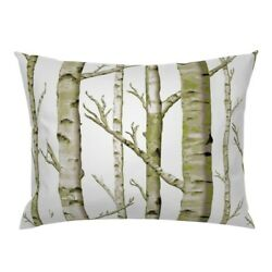 Birch Grove Woodland Forest Nursery Trees Green Spring Pillow Sham by Roostery