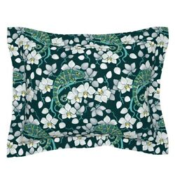 Rainforest Chameleon And Orchid Floral Decor Orchids Pillow Sham by Roostery