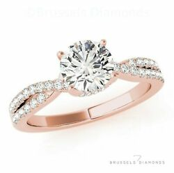 0.95 Ct H/si2 Diamond Split Shank Solitaire Engagement Ring Round 14k Rose Gold