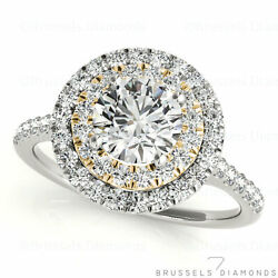 1.10 Ct H/si2 Natural Diamond Double Halo Engagement Ring Round 14k White Gold