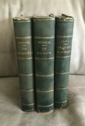 Lot Of 3 Antique Decorative Leather Bound Books In French Cahu Claretie Madeline