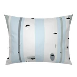 Birch Tree Forest Nursery Trees Blue Woodland Pillow Sham by Roostery