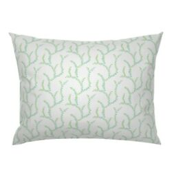 Turquoise Vine Leaves Trail Branch Branches Pillow Sham By Roostery