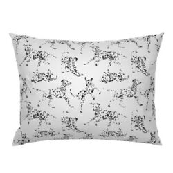 Dalmatian Dog Spotted Black And White Playing Movement Pillow Sham By Roostery