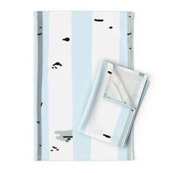 Birch Tree Forest Nursery Trees Linen Cotton Tea Towels by Roostery Set of 2