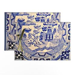 Cloth Placemats Ceramic Asian Chinese Cover Victorian Tile Blue Set Of 2