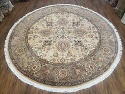 8ft Round Pak-persian Rug Fine Oriental Carpet Wool Vintage Hand-knotted 8x8 Tan