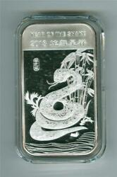 2013 Apmex Year Of The Snake 1 Oz .999 Fine Silver Bar Bu With White Spots