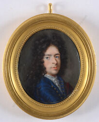 Portrait Of A Young Aristocrat High Quality French Miniature 1700/1720
