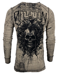 Affliction Menand039s Long Sleeve Thermal Reversible Shirt Ac Native Outlaw Biker