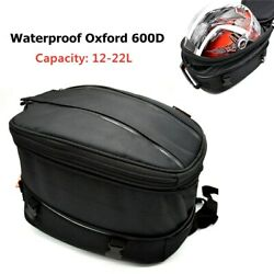Motorcycle Rear Helmet Bag Tail Seat Back Saddle Pack Luggage Backpack W/cover