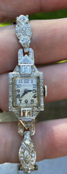 Vintage 90 Platinum With Approx 60 Small Diamonds Hamilton Watch . See Marking