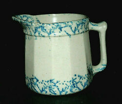 13-sided Early Blue And White Spongeware Pitcher 6 3/8 - Stoneware