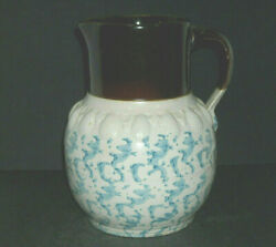 Early 1880 - 1915 Embossed Blue And White Spongeware Pitcher - Stoneware