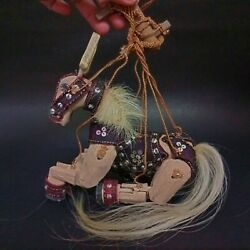 Wood Marionette Control String Puppet Brown Horse With Saddle Handmade Folk Art