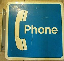 Telephone Booth Pay Phone Metal Sign 18 Vintage Blue White Receiver Sign Square