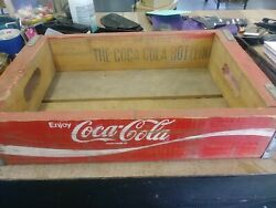 Vintage Enjoy Coca-cola Wood Crate - White On Red Coke Bottle Crate Wooden Tray