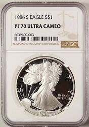 1986 S American Silver Eagle 1 Gem Brilliant Proof Ngc Pf70 Uc Ultra Cameo