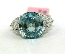 Fine Round Blue Zircon And Diamond Accent Solitaire Ring 14k White Gold 10.97ct