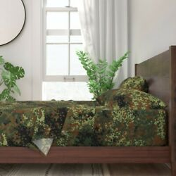 German Camo Camouflage Hunting Military 100 Cotton Sateen Sheet Set By Roostery