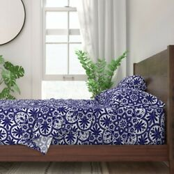 Tile Blue White Floral Indian Snowflake 100 Cotton Sateen Sheet Set By Roostery