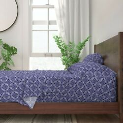 Tile Blue White Delft Navy Cobalt 100 Cotton Sateen Sheet Set By Roostery