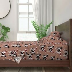 Brittany Spaniel Pawprint Dogs Hunting 100 Cotton Sateen Sheet Set By Roostery