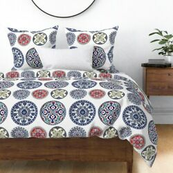 Plates China Tea Victorian Delft Willow Blue And Sateen Duvet Cover By Roostery