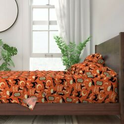 Retro Halloween Kitsch Vintage Crow 100 Cotton Sateen Sheet Set By Roostery