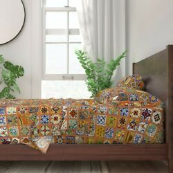 Talavera Mexican Tile Colorful Bold 100 Cotton Sateen Sheet Set By Roostery