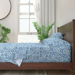 Tile Ceramic Pattern Geometric Spanish 100 Cotton Sateen Sheet Set By Roostery