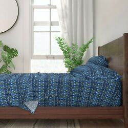 Persian Glass Tile Horizontal Lapis 100 Cotton Sateen Sheet Set By Roostery