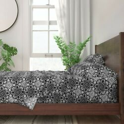 Tile India Indian Colonial Lace Black 100 Cotton Sateen Sheet Set By Roostery