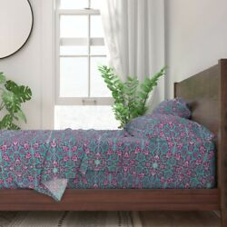 Tile Moroccan Indian Trellis Lattice 100 Cotton Sateen Sheet Set By Roostery