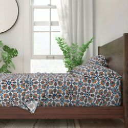 Floral Tile Vintage Porcelain Blue And 100 Cotton Sateen Sheet Set By Roostery