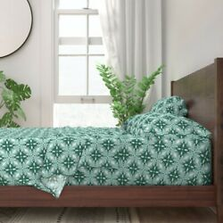 Tile Modern Geometric Green And White 100 Cotton Sateen Sheet Set By Roostery