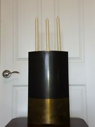 Michael Aram Antiqued Brass Two Tone Candle Holder Xl 18 Signed Modern 1980s
