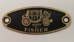 Rare Gm Car Door Sill Plate Oval Gold And Black Metal Body By Fisher Emblem Tag
