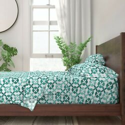 Teal Tile Geometric Watercolor Moroccan 100 Cotton Sateen Sheet Set By Roostery