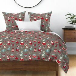 Winter Animals Knitting Sweaters Hats Bear Rabbit Sateen Duvet Cover By Roostery