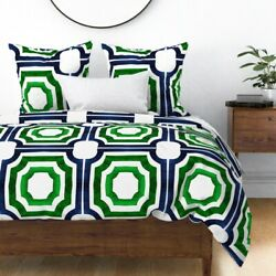 Jewelbox Geometric Watercolor Green Blue Cest La Sateen Duvet Cover By Roostery