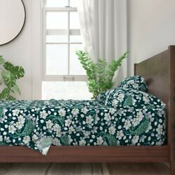 Rainforest Chameleon And Orchid Floral 100% Cotton Sateen Sheet Set by Roostery