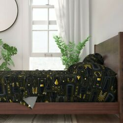 Bottles Glasses Art Deco Gold Thirties 100 Cotton Sateen Sheet Set By Roostery